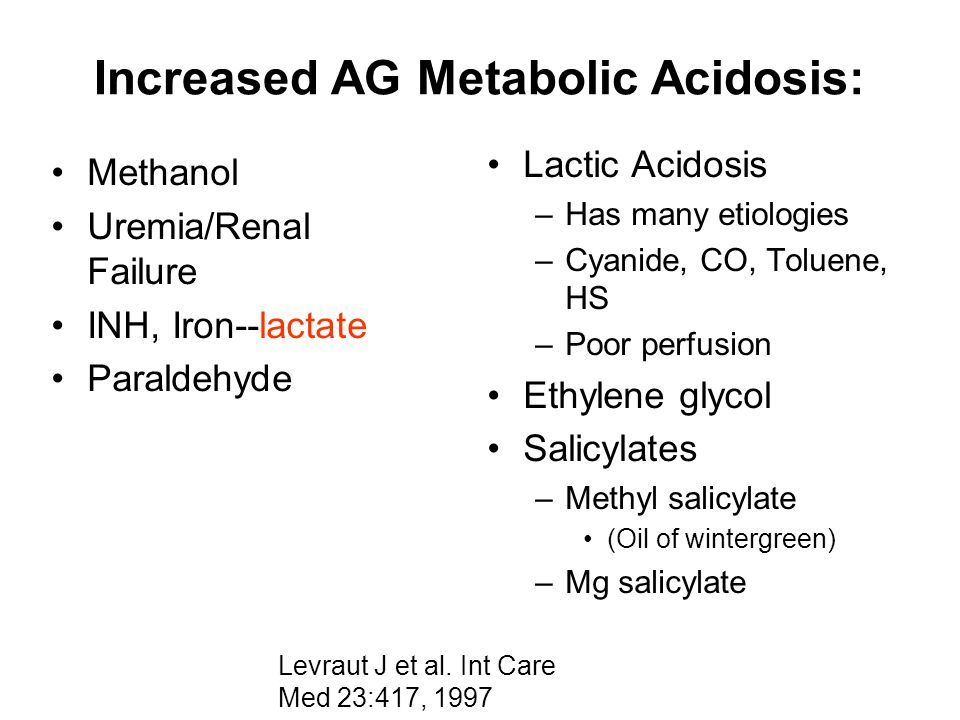 Increased AG Metabolic Acidosis: