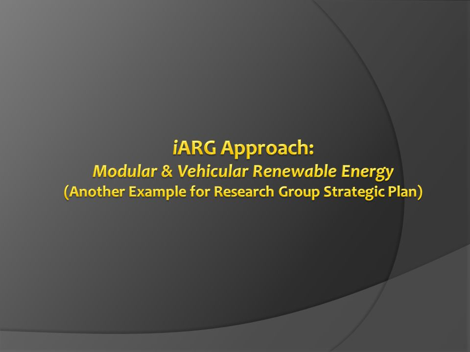 iARG Approach: Modular & Vehicular Renewable Energy