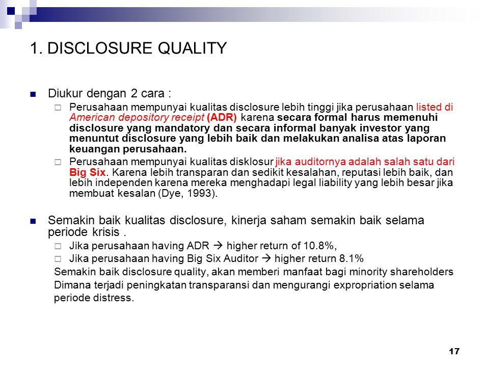 1. DISCLOSURE QUALITY Diukur dengan 2 cara :