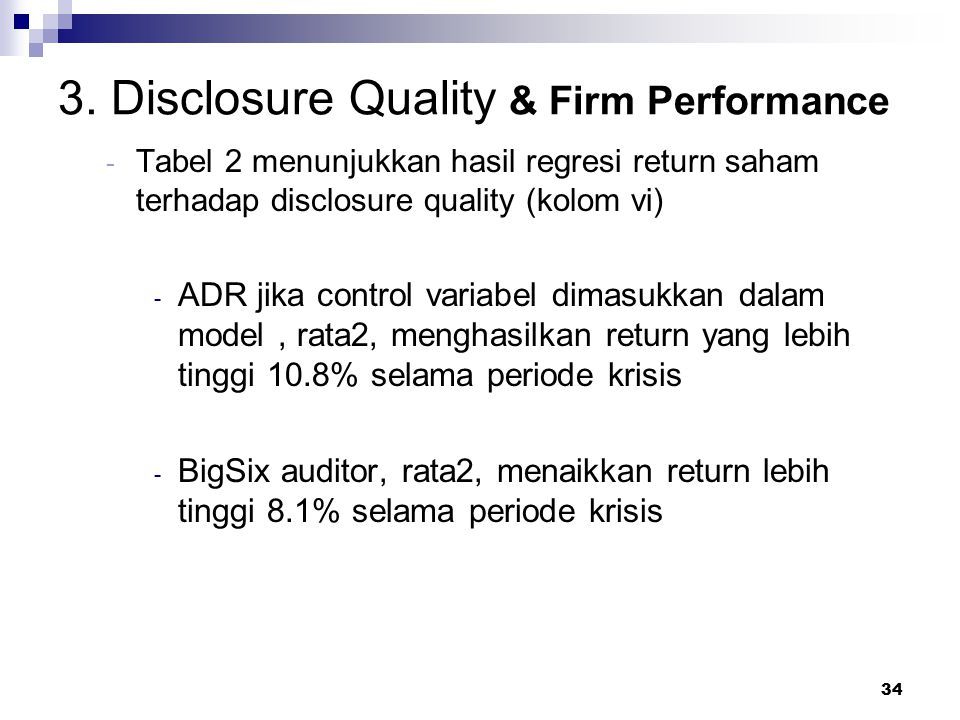 3. Disclosure Quality & Firm Performance