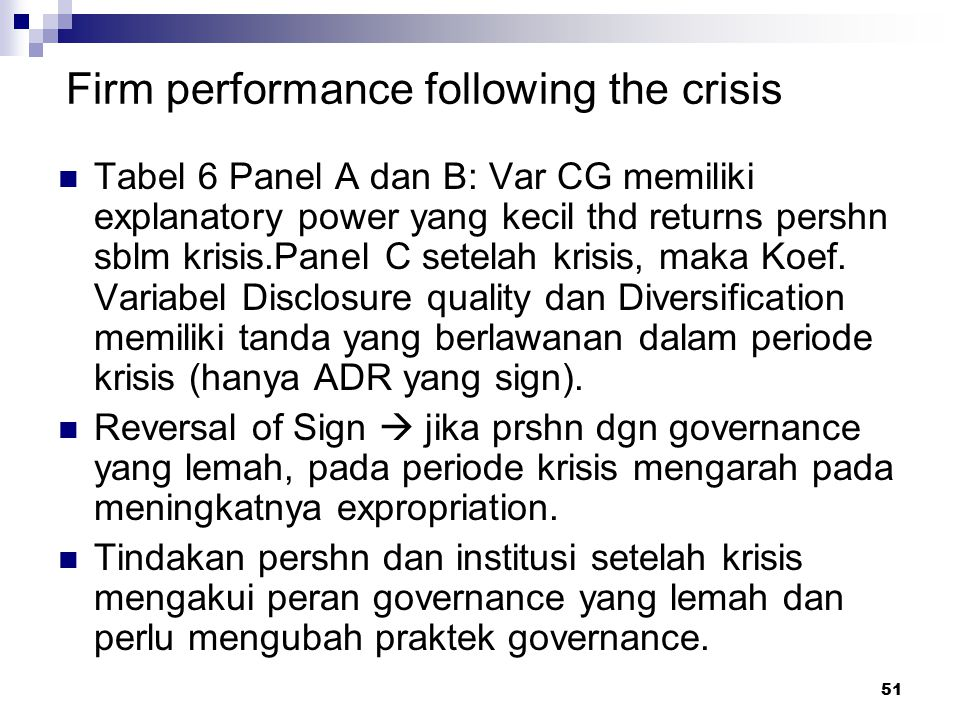 Firm performance following the crisis