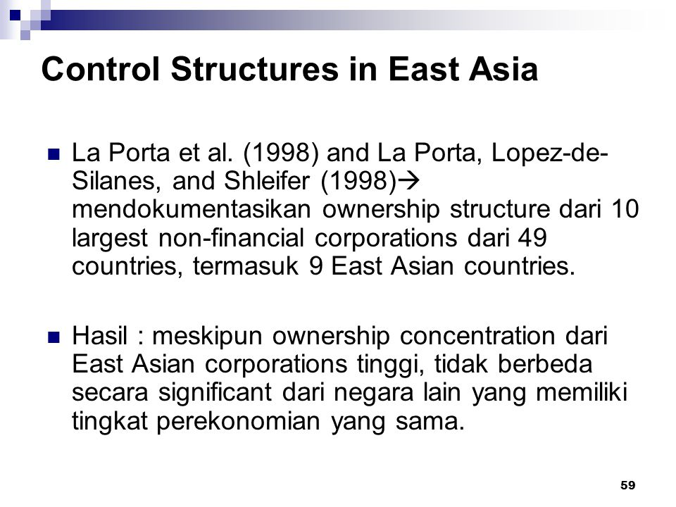 Control Structures in East Asia