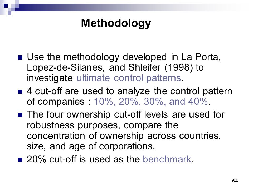 Methodology Use the methodology developed in La Porta, Lopez-de-Silanes, and Shleifer (1998) to investigate ultimate control patterns.