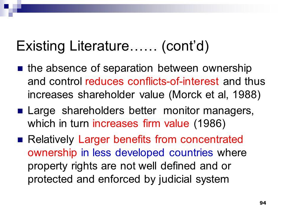 Existing Literature…… (cont'd)