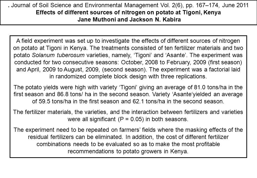 Effects of different sources of nitrogen on potato at Tigoni, Kenya
