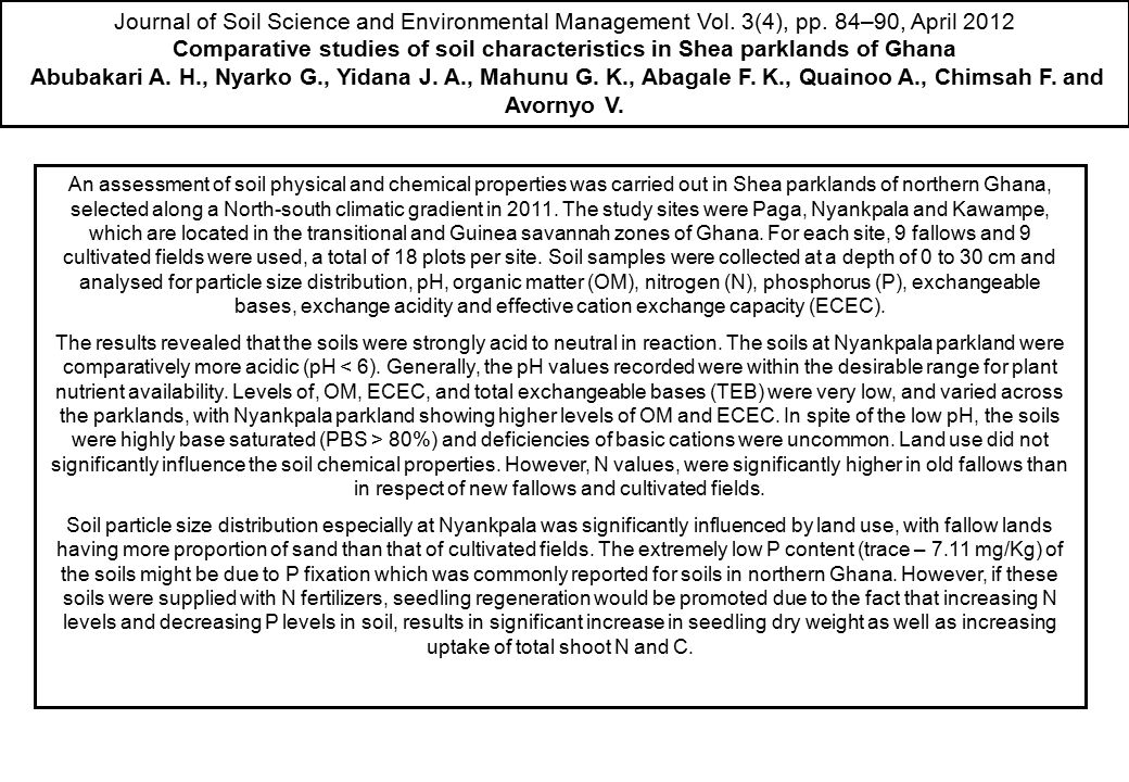 Comparative studies of soil characteristics in Shea parklands of Ghana