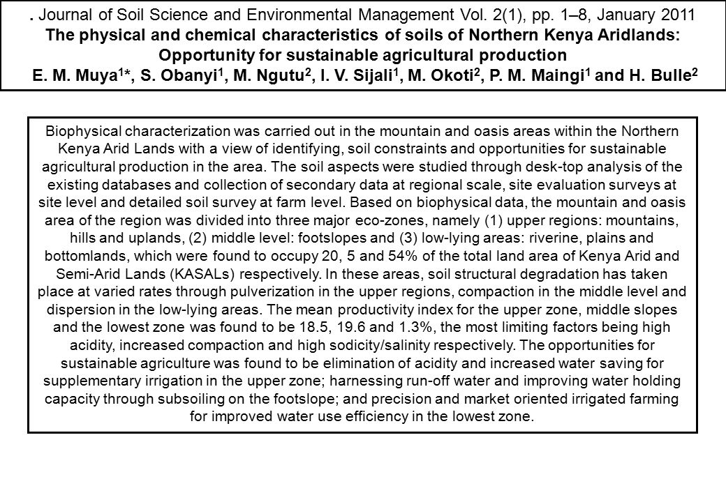Journal of Soil Science and Environmental Management Vol. 2(1), pp