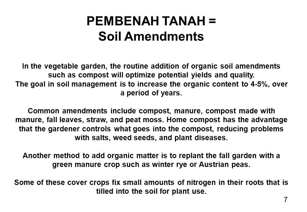 PEMBENAH TANAH = Soil Amendments