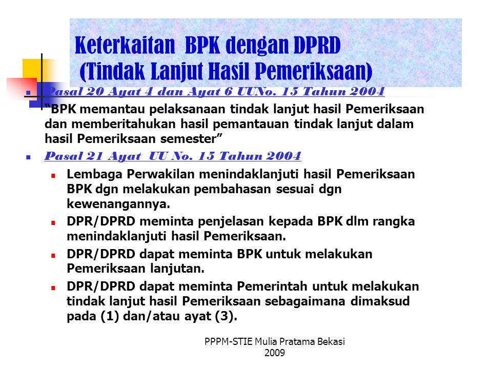 Keterkaitan BPK dengan DPRD (Tindak Lanjut Hasil Pemeriksaan)