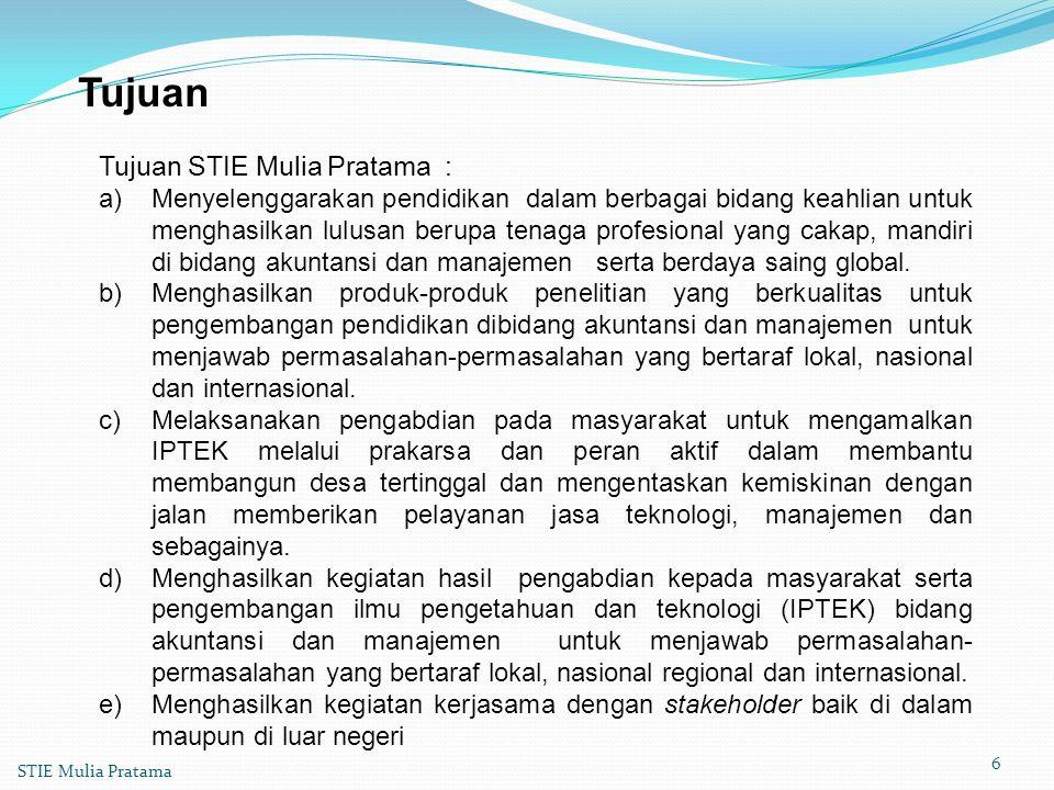 Tujuan Tujuan STIE Mulia Pratama :