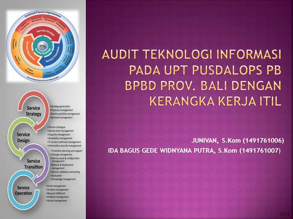 Audit TEKNOLOGI INFORMASI pada upt pusdalops pb bpbD prov