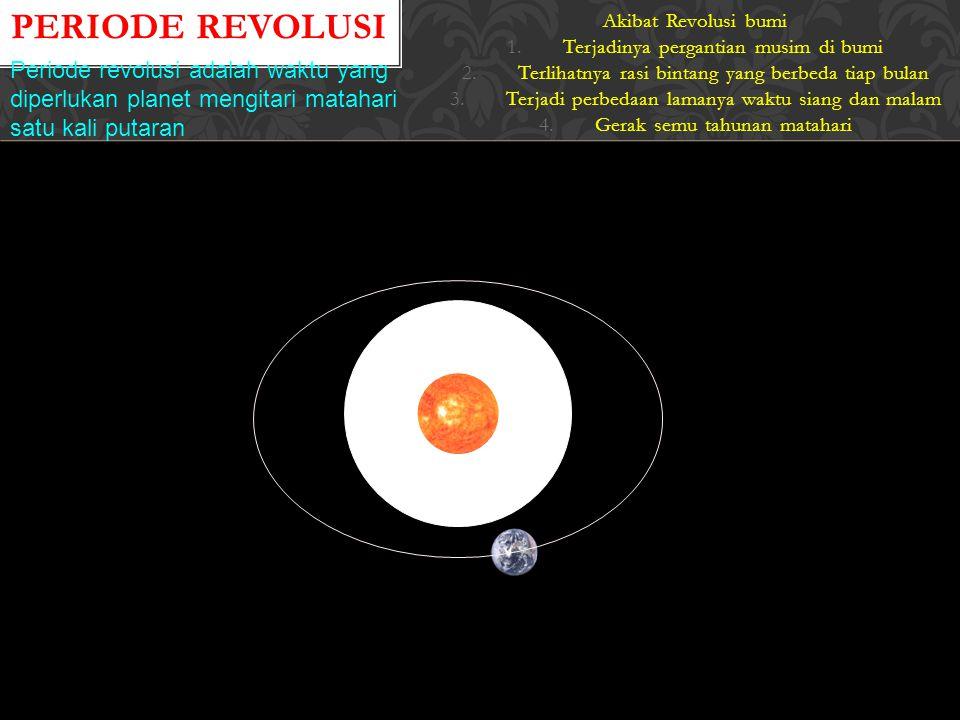 Periode Revolusi Akibat Revolusi bumi. Terjadinya pergantian musim di bumi. Terlihatnya rasi bintang yang berbeda tiap bulan.