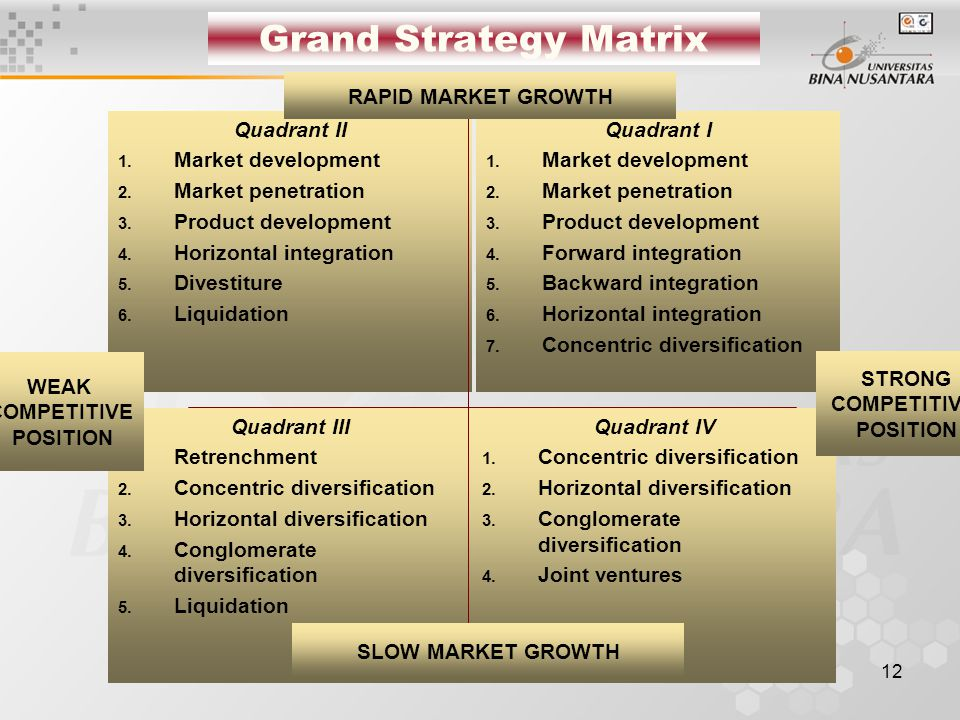 Grand Strategy Matrix RAPID MARKET GROWTH Quadrant II