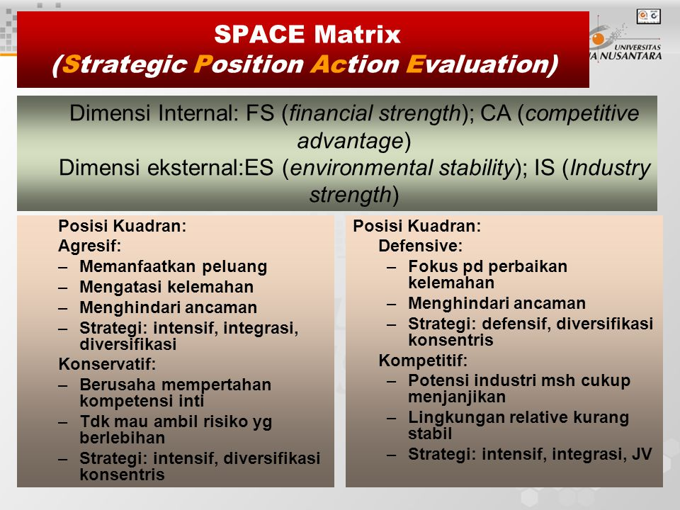 SPACE Matrix (Strategic Position Action Evaluation)