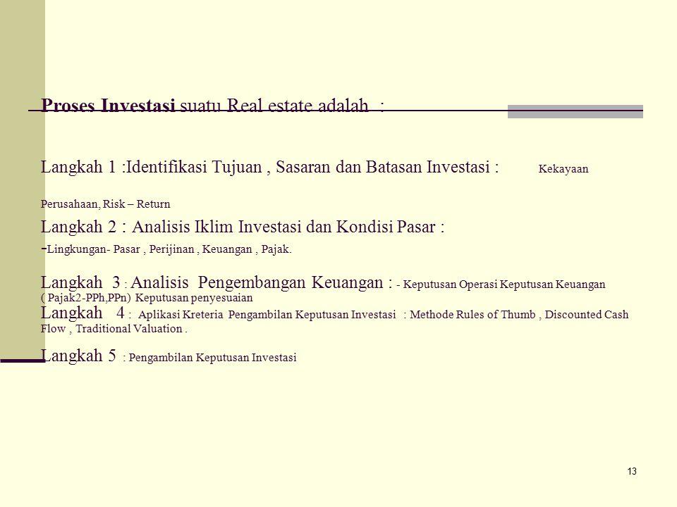 Proses Investasi suatu Real estate adalah : Langkah 1 :Identifikasi Tujuan , Sasaran dan Batasan Investasi : Kekayaan Perusahaan, Risk – Return Langkah 2 : Analisis Iklim Investasi dan Kondisi Pasar : -Lingkungan- Pasar , Perijinan , Keuangan , Pajak.