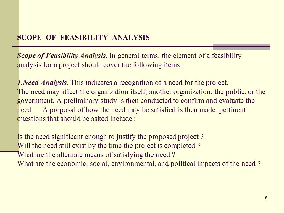 SCOPE OF FEASIBILITY ANALYSIS Scope of Feasibility Analysis