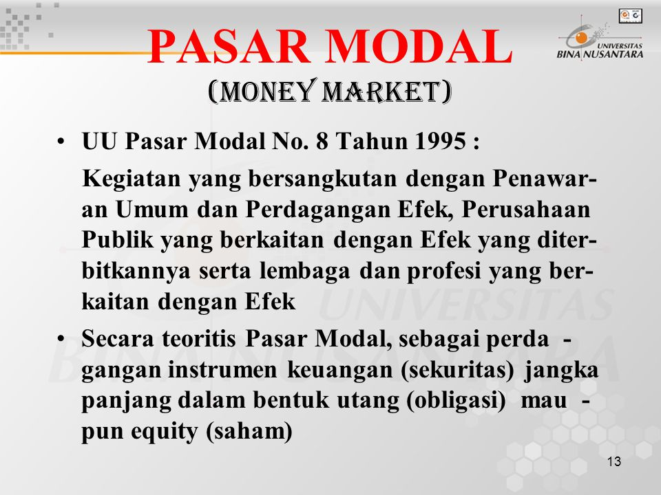PASAR MODAL (Money Market)