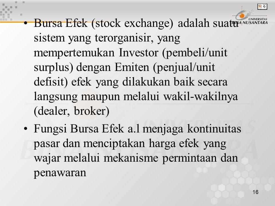 Bursa Efek (stock exchange) adalah suatu sistem yang terorganisir, yang mempertemukan Investor (pembeli/unit surplus) dengan Emiten (penjual/unit defisit) efek yang dilakukan baik secara langsung maupun melalui wakil-wakilnya (dealer, broker)