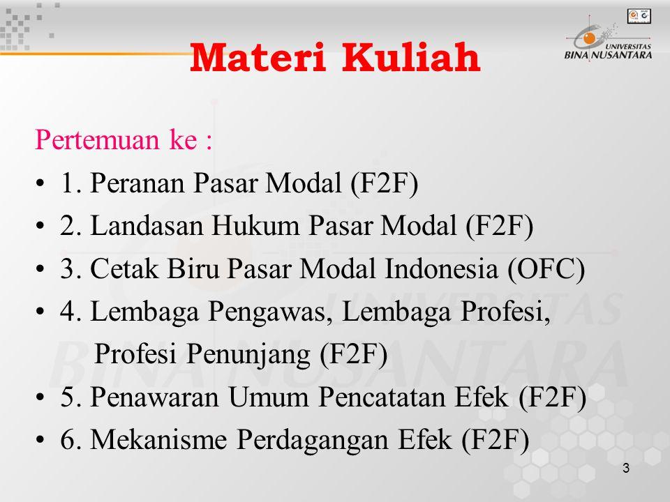 Materi Kuliah Pertemuan ke : 1. Peranan Pasar Modal (F2F)