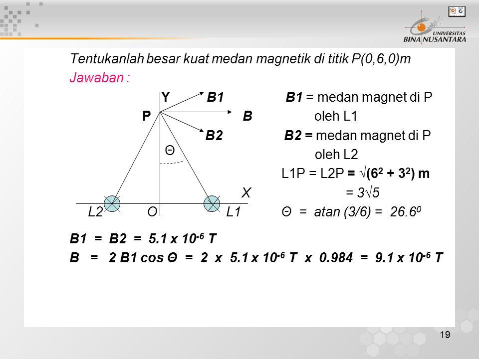 Tentukanlah besar kuat medan magnetik di titik P(0,6,0)m