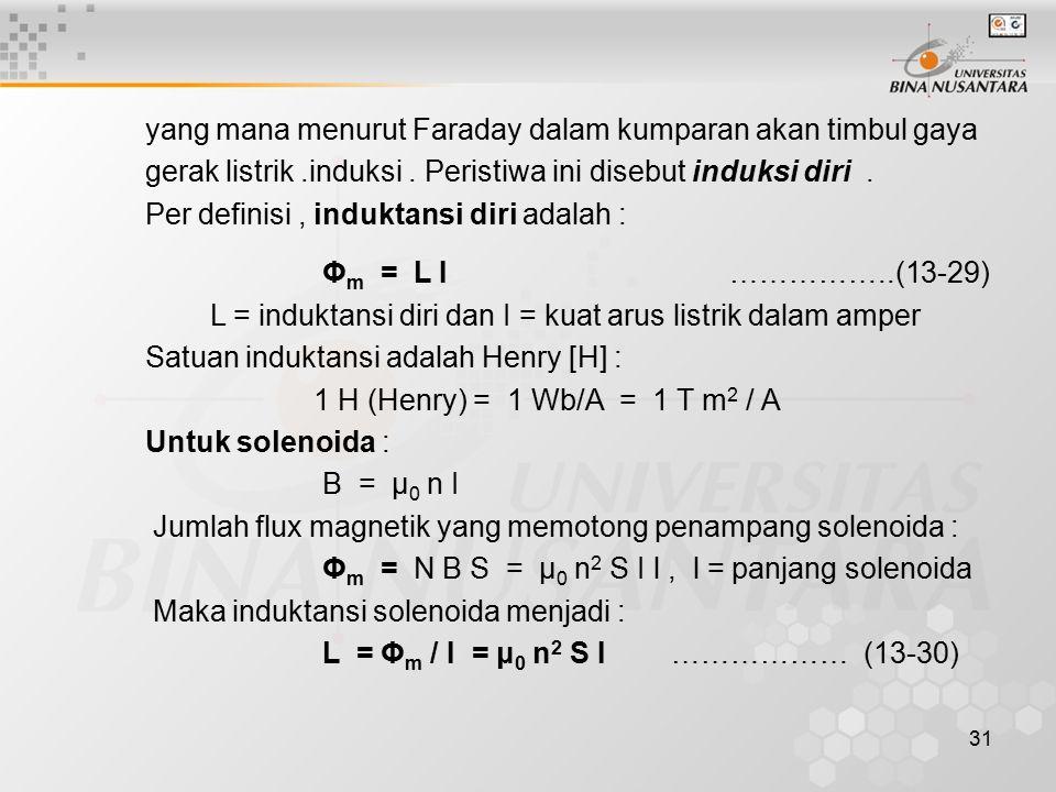 yang mana menurut Faraday dalam kumparan akan timbul gaya