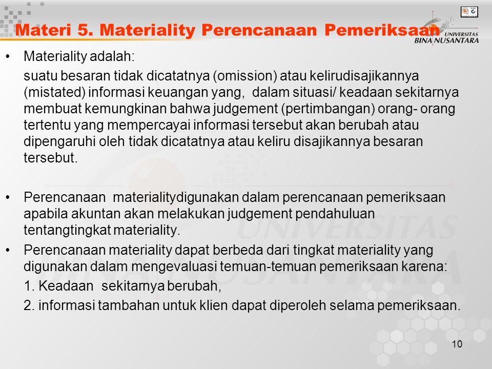 Materi 5. Materiality Perencanaan Pemeriksaan