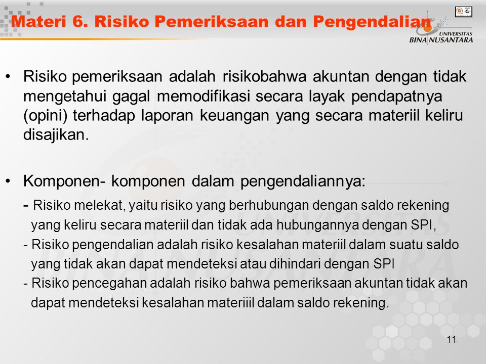 Materi 6. Risiko Pemeriksaan dan Pengendalian