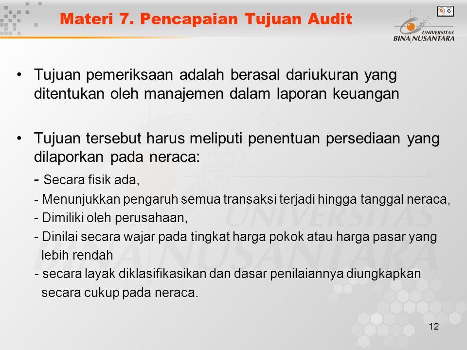 Materi 7. Pencapaian Tujuan Audit