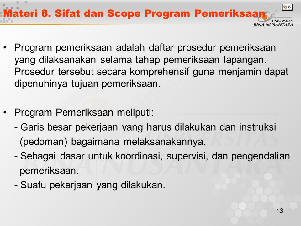 Materi 8. Sifat dan Scope Program Pemeriksaan