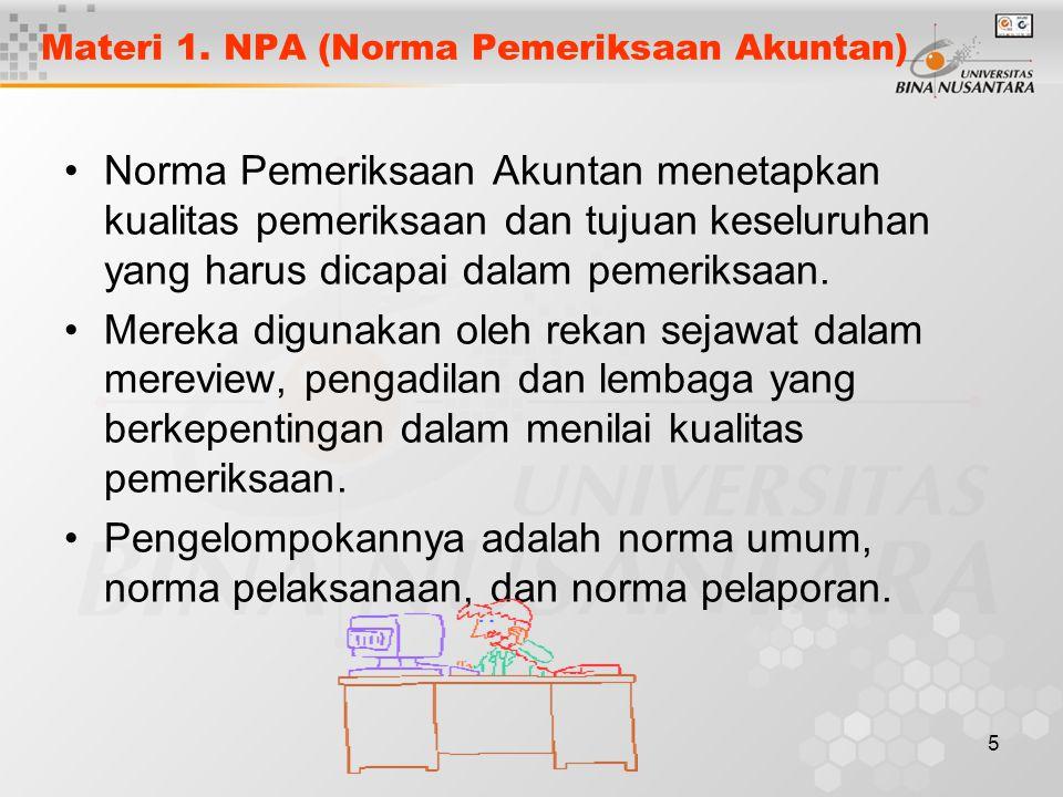 Materi 1. NPA (Norma Pemeriksaan Akuntan)