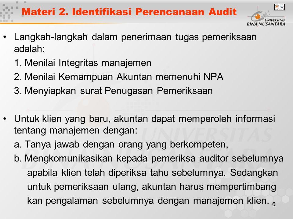 Materi 2. Identifikasi Perencanaan Audit
