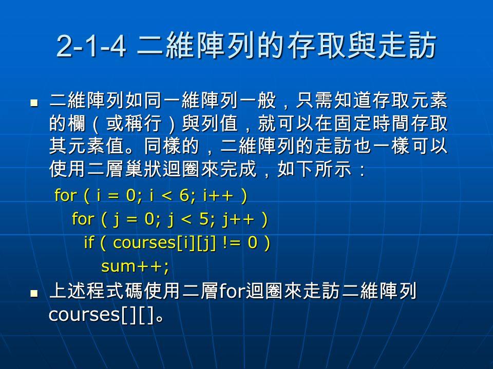 2-1-4 二維陣列的存取與走訪 二維陣列如同一維陣列一般,只需知道存取元素的欄(或稱行)與列值,就可以在固定時間存取其元素值。同樣的,二維陣列的走訪也一樣可以使用二層巢狀迴圈來完成,如下所示: for ( i = 0; i < 6; i++ )