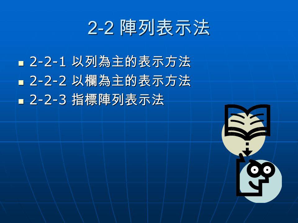 2-2 陣列表示法 2-2-1 以列為主的表示方法 2-2-2 以欄為主的表示方法 2-2-3 指標陣列表示法