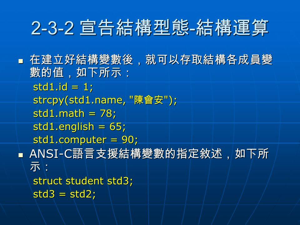 2-3-2 宣告結構型態-結構運算 在建立好結構變數後,就可以存取結構各成員變數的值,如下所示:
