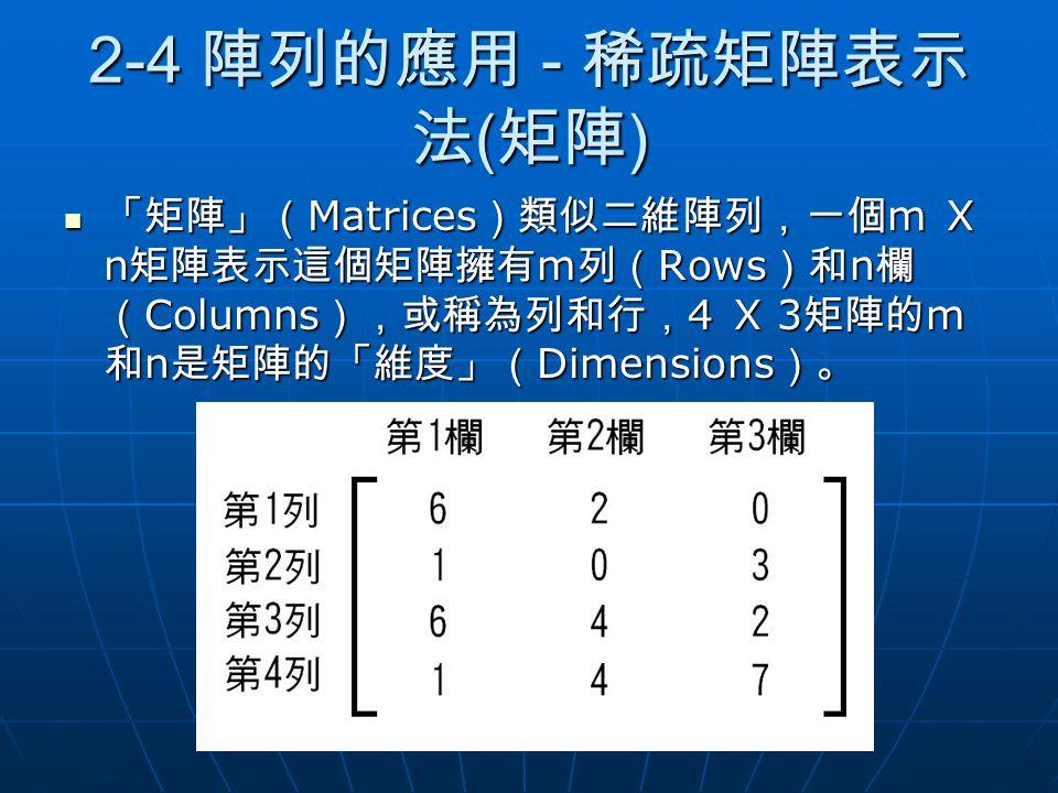 2-4 陣列的應用 - 稀疏矩陣表示法(矩陣) 「矩陣」(Matrices)類似二維陣列,一個m X n矩陣表示這個矩陣擁有m列(Rows)和n欄(Columns),或稱為列和行,4 X 3矩陣的m和n是矩陣的「維度」(Dimensions)。