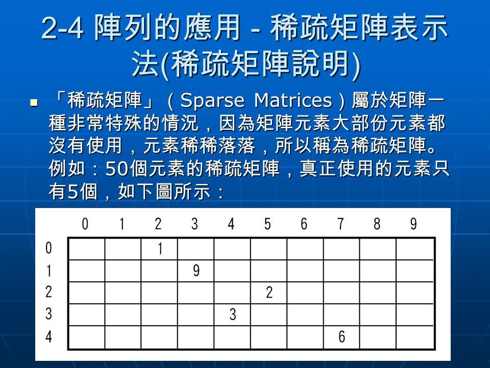 2-4 陣列的應用 - 稀疏矩陣表示法(稀疏矩陣說明)