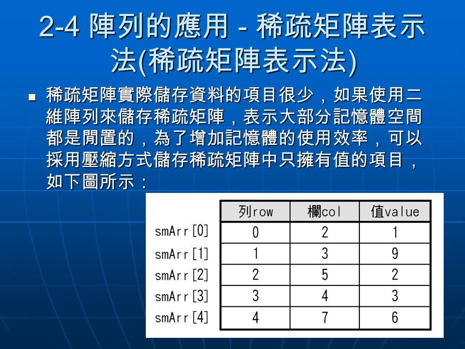 2-4 陣列的應用 - 稀疏矩陣表示法(稀疏矩陣表示法)