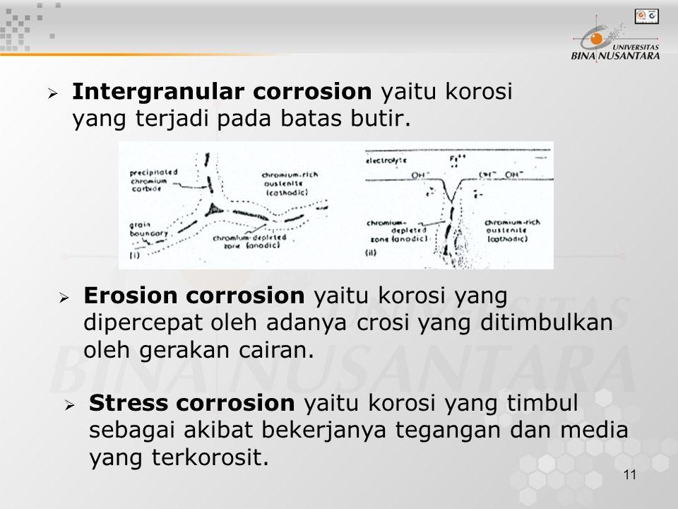 Intergranular corrosion yaitu korosi yang terjadi pada batas butir.
