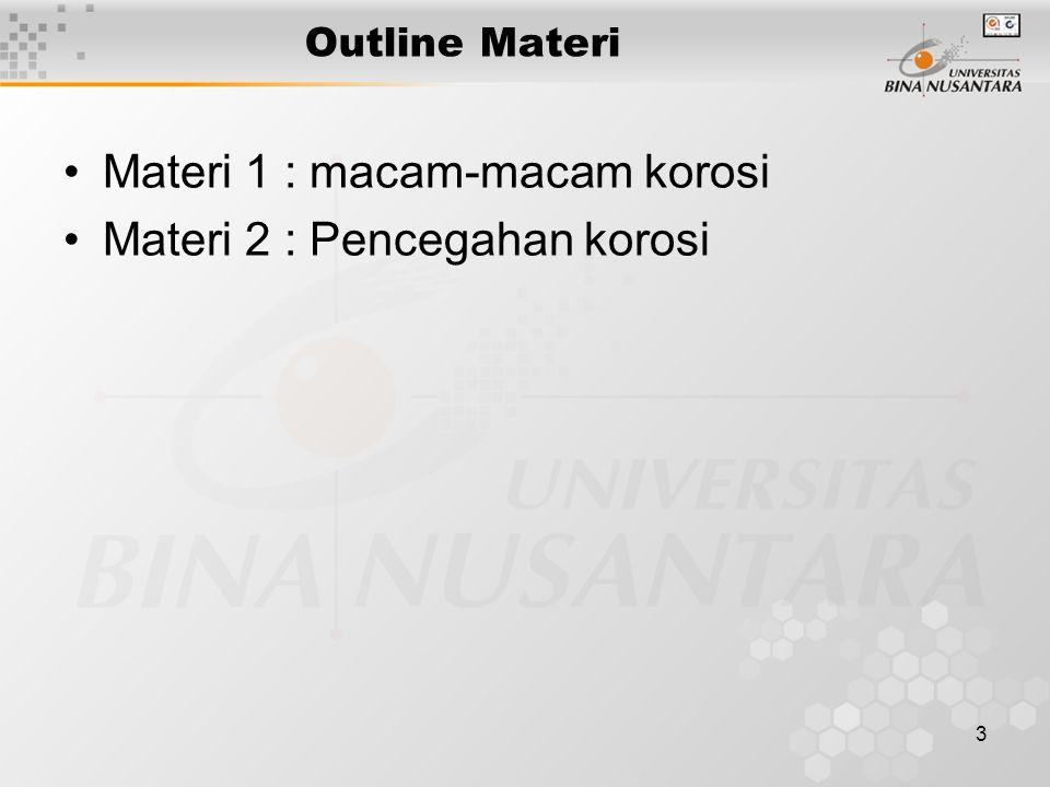 Materi 1 : macam-macam korosi Materi 2 : Pencegahan korosi