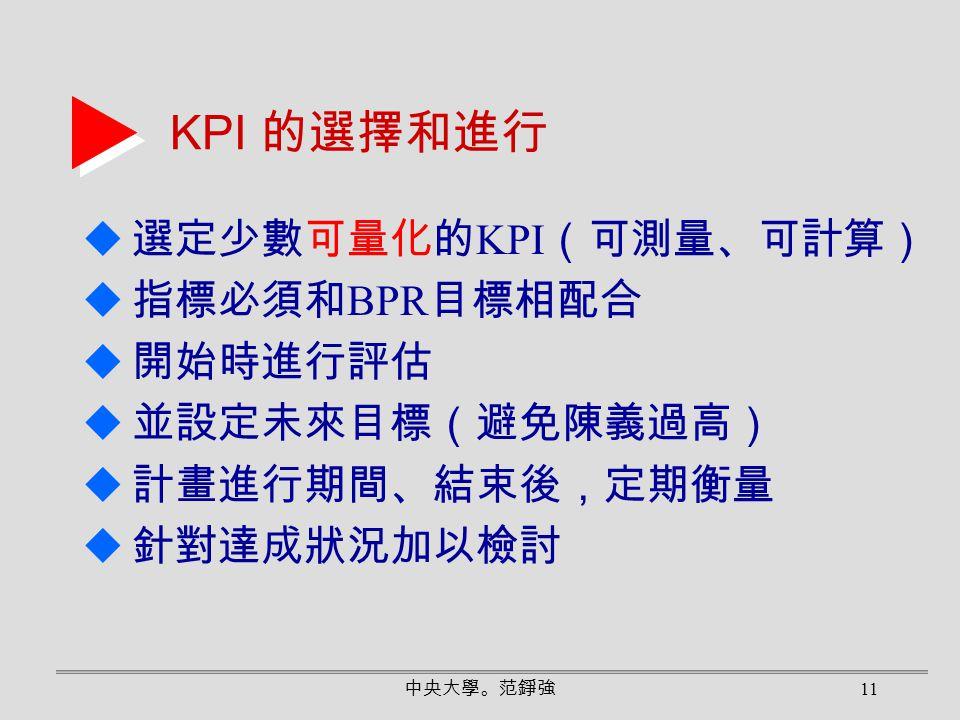 KPI 的選擇和進行 選定少數可量化的KPI(可測量、可計算) 指標必須和BPR目標相配合 開始時進行評估 並設定未來目標(避免陳義過高)