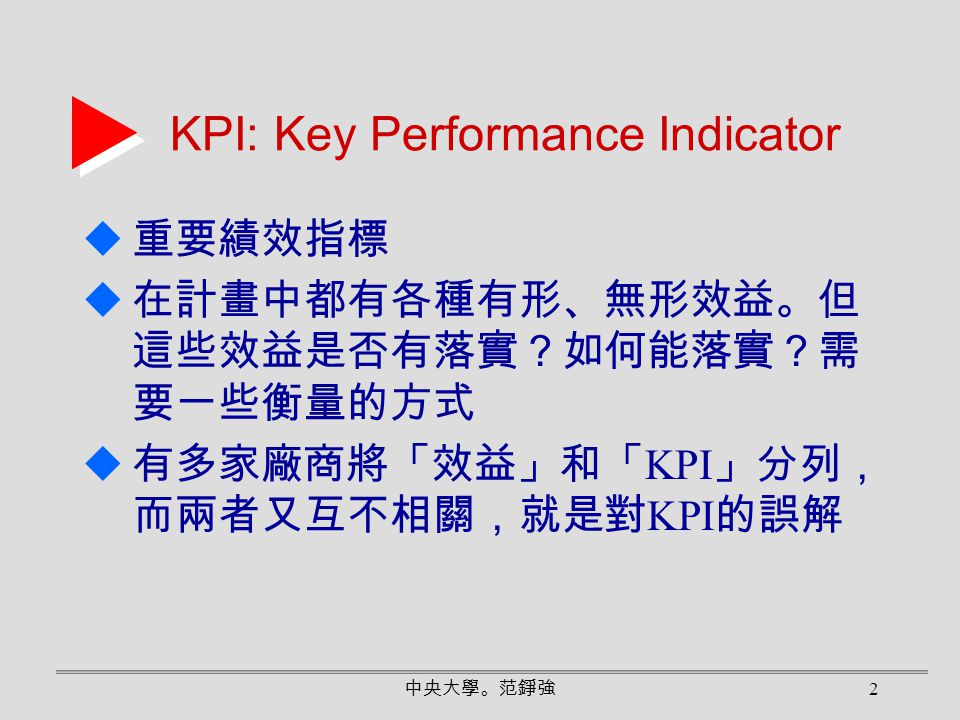 KPI: Key Performance Indicator