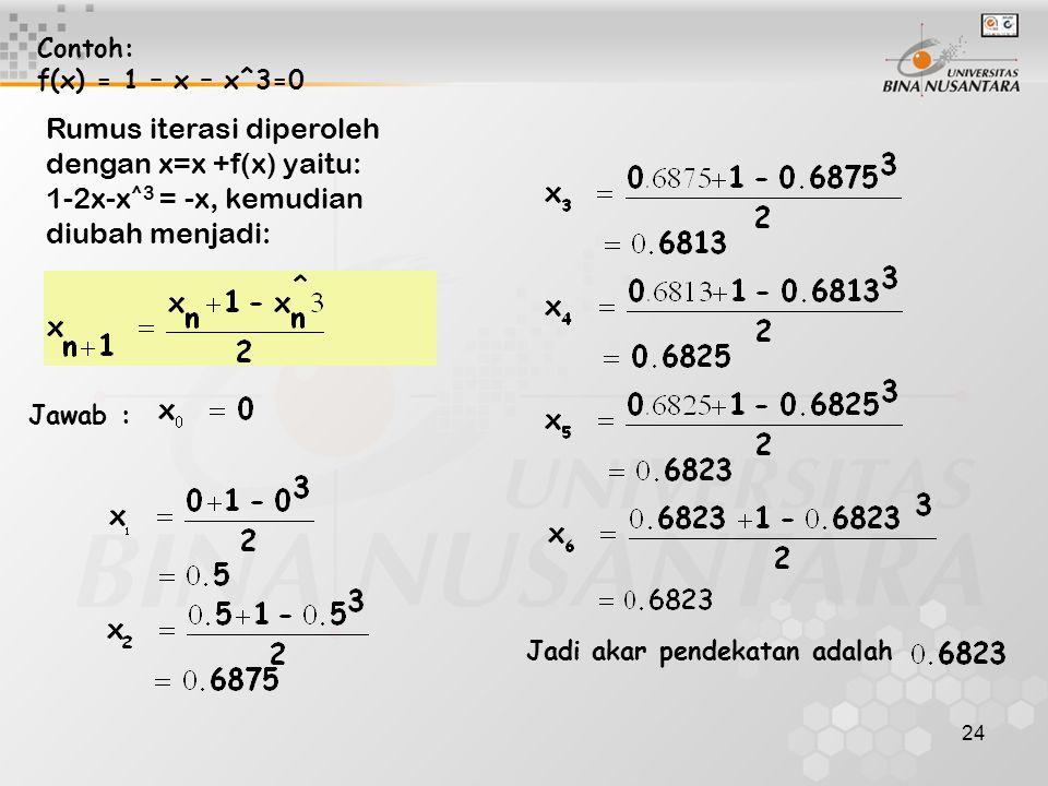 Rumus iterasi diperoleh dengan x=x +f(x) yaitu: