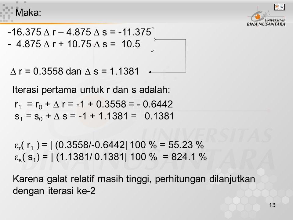 Maka: -16.375  r – 4.875  s = -11.375. - 4.875  r + 10.75  s = 10.5.  r = 0.3558 dan  s = 1.1381.