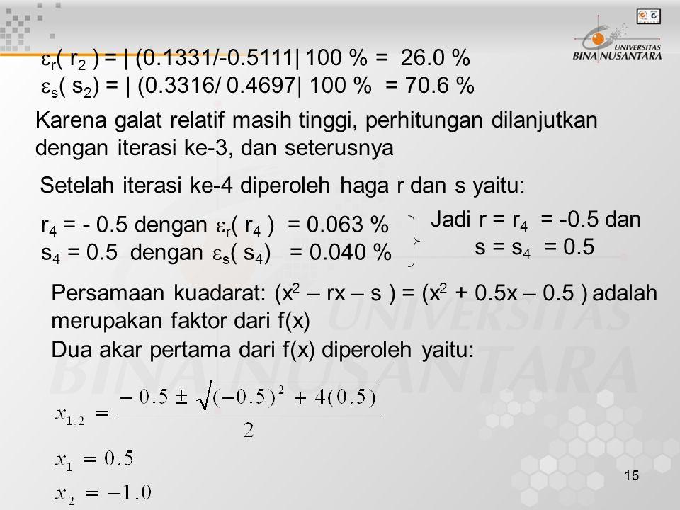 r( r2 ) = | (0.1331/-0.5111| 100 % = 26.0 % s( s2) = | (0.3316/ 0.4697| 100 % = 70.6 %