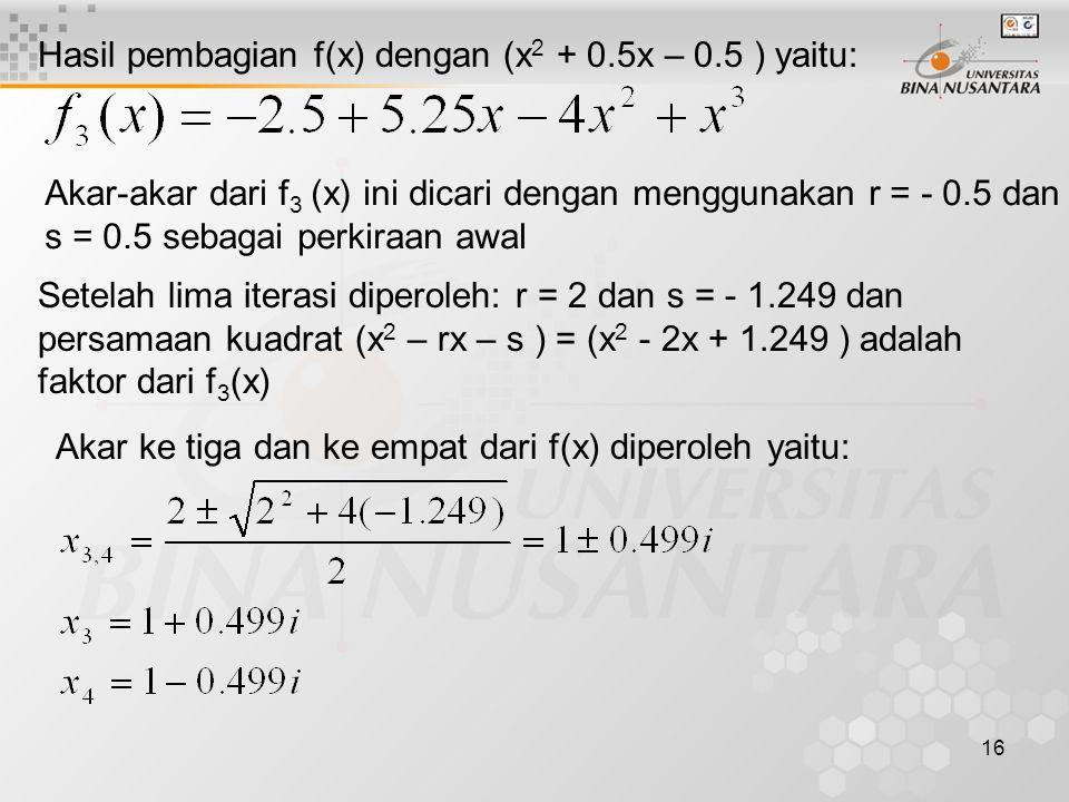 Hasil pembagian f(x) dengan (x2 + 0.5x – 0.5 ) yaitu: