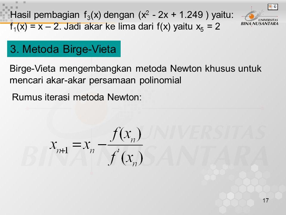 Hasil pembagian f3(x) dengan (x2 - 2x + 1.249 ) yaitu: