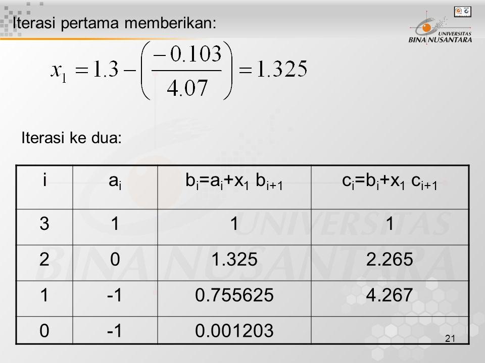 i ai bi=ai+x1 bi+1 ci=bi+x1 ci+1 3 1 2 1.325 2.265 -1 0.755625 4.267