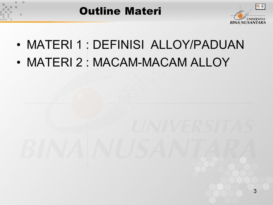 MATERI 1 : DEFINISI ALLOY/PADUAN MATERI 2 : MACAM-MACAM ALLOY