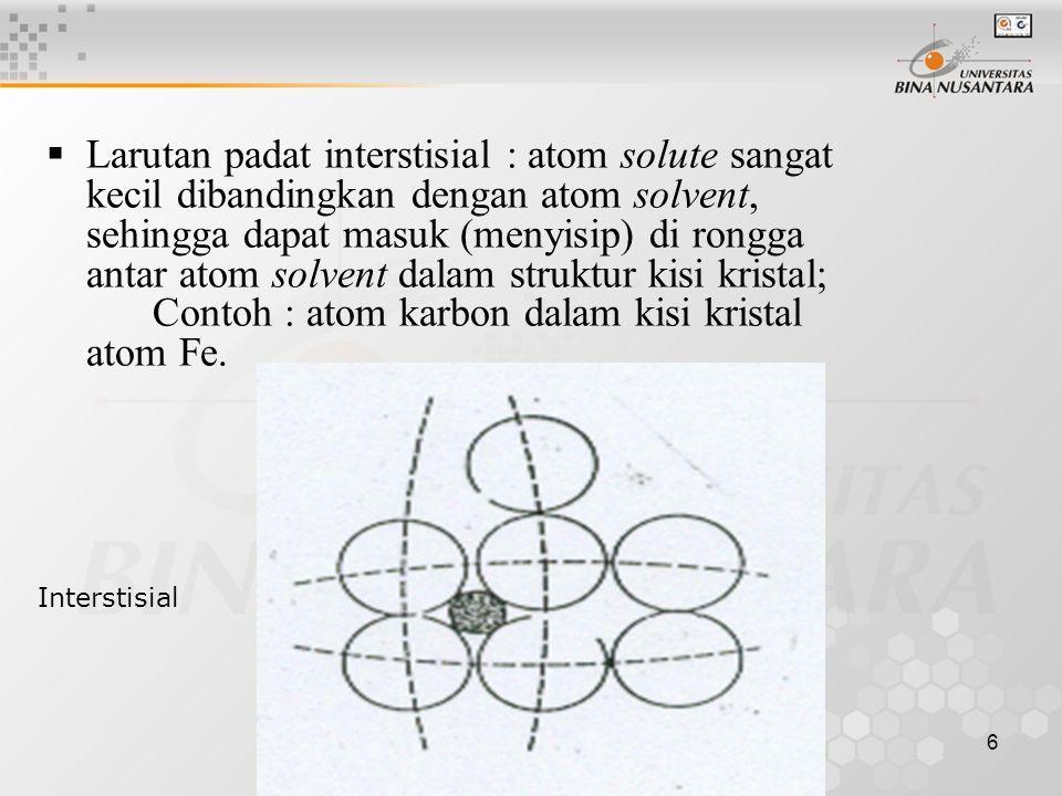 Larutan padat interstisial : atom solute sangat kecil dibandingkan dengan atom solvent, sehingga dapat masuk (menyisip) di rongga antar atom solvent dalam struktur kisi kristal; Contoh : atom karbon dalam kisi kristal atom Fe.