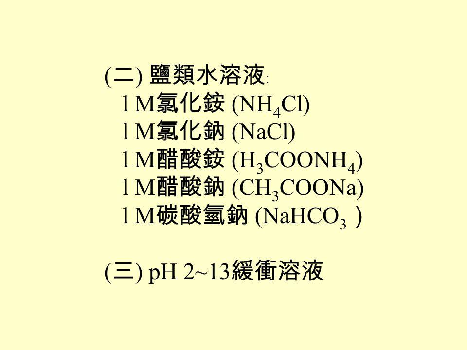 (二) 鹽類水溶液﹕ l M氯化銨 (NH4Cl) l M氯化鈉 (NaCl) l M醋酸銨 (H3COONH4) l M醋酸鈉 (CH3COONa) l M碳酸氫鈉 (NaHCO3)
